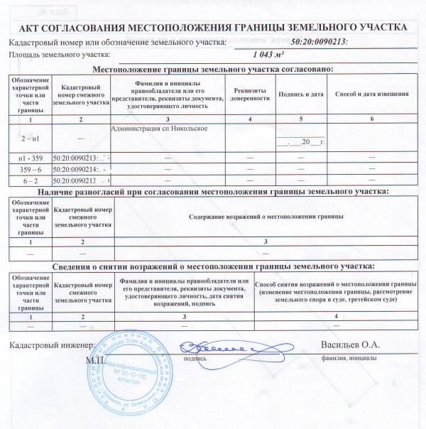 акт согласования местоположения границы земельного участка 2015 образец